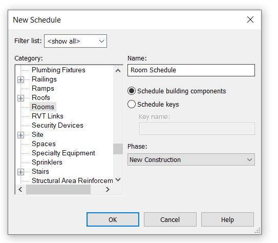 Figure 26 - Creating the schedule The necessary information contained in the Revit room element are: (1) Level, (2) Room name and (3) its plan area.
