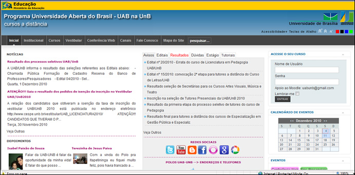Interface da UAB/UnB 190