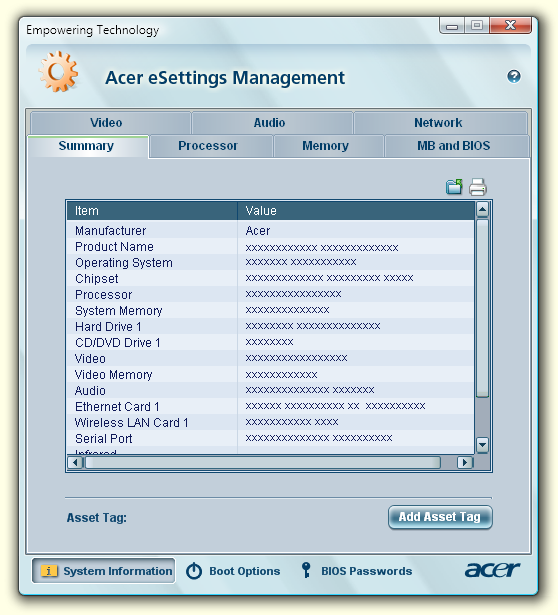 12 Acer esettings Management Empowering Technology O Acer esettings Management permite-lhe inspeccionar as especificações do hardware, configurar palavas-passe da BIOS e modificar as opções do