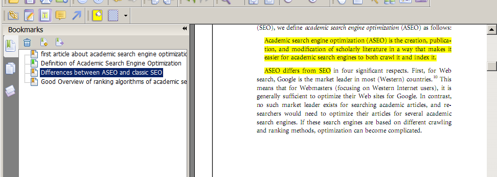 Destacando informações importantes para a sua tese de doutorado Este é o PDF de um artigo intitulado Academic Search Engine Optimization (ASEO): Optimizing Scholarly Literature for Google Scholar and