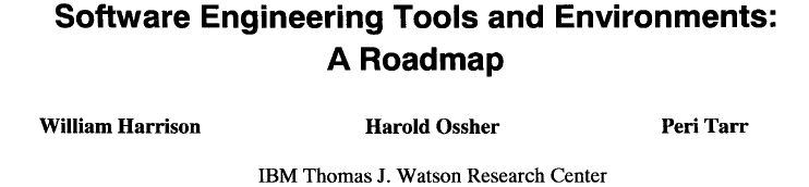 ! The second major line of SEE research was initiated by Osterweil's landmark paper [46], which posited the need for semi-automated support for the software process [22], in addition to tool support