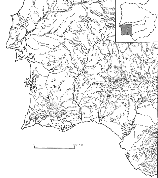 FIG. 1 Bronze Age sites mentioned in the text: 1. Alcácer do Sal (S; FBA); 2. Alfarrobeira (C; MBA); 3. Atalaia (C; MBA); 4. Barrada do Grilo (S; IBA); 5. Belmeque (C; MBA); 6. Casa Nova (S; FBA); 7.