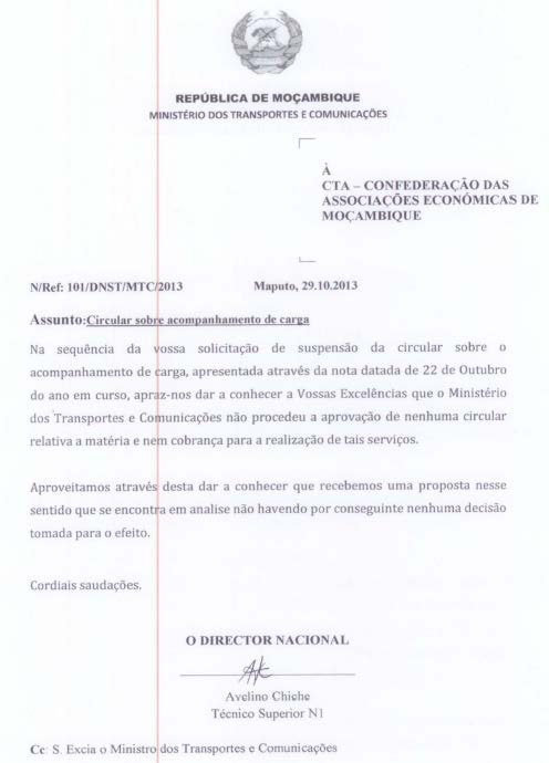 MOZAMBIQUE >> Regulation Overview Waiver Control ECTN HAS BEEN POSTPONED UNTIL FURTHER NOTICE!