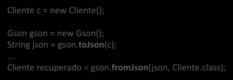 Gson gson = new Gson(); String json = gson.