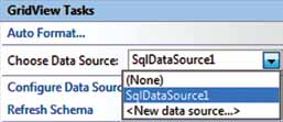 A partir da opção Choose Data Source, podemos apontar o SqlDataSource (figura 363). Figura 360 Teste do SQL (Query). Figura 363 Selecionando o DataSource.