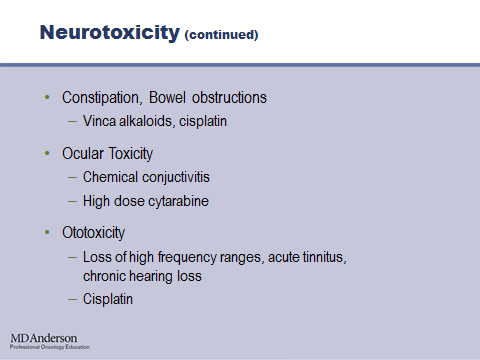 Chemotherapy can also induce peripheral neuropathy that is related to the cumulative dose and the type of drug used.
