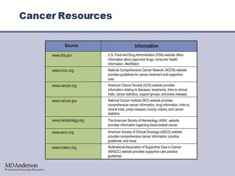 And lastly, I would like to leave you with this slide with a list of resources for additional cancer and chemotherapy information. I hope you have enjoyed this lecture and we welcome your feedback.
