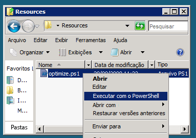 Pré-requisitos para o laboratório Navegue até o diretório HOL base Supporting Files\SPCHOL301\Resources e execute o script do PowerShell optimize.ps1 (isso pode demorar alguns minutos): 1.