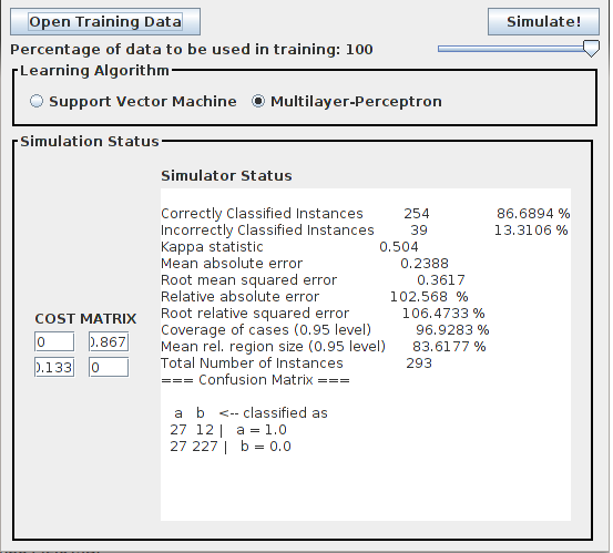 Figure 3: Input Screen. In this screen the user can set all the input parameters for the simulator. 195 200 205 zero, since we do not want to penalize correct classifications.