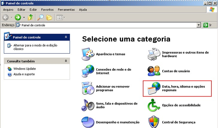 6.6. CONFIGURANDO O FORMATO DA DATA NO WINDOWS Para que o sistema funcione corretamente, devemos configurar o Windows para trabalhar com as datas no formato dd/mm/yyyy.