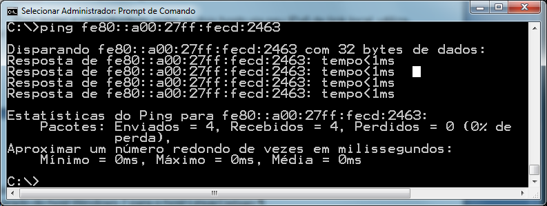 67 Figura 4.13 Testando a conectividade via IPv6 de link-local, Windows para Linux.