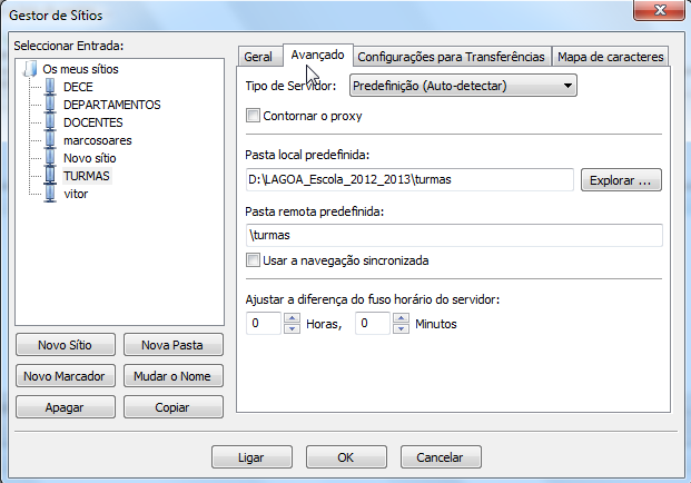 FileZilla Portable Depois configuramos a pasta local e a pasta remota Por