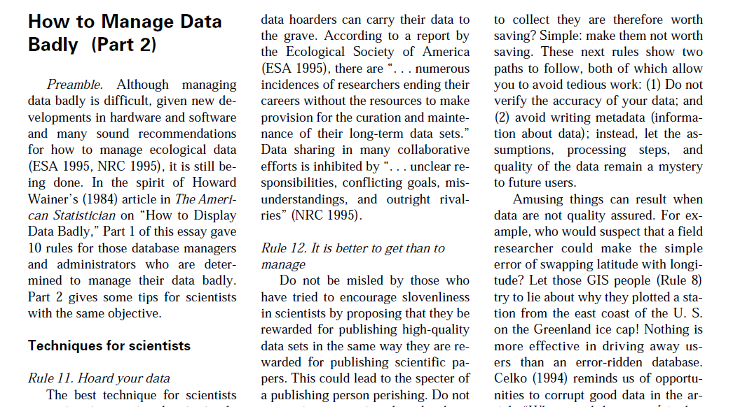 Hale, S.S. 1999. How To Manage Data Badly (Part 1). Bulletin of the Ecological Society of America, 80 (4): pp. 265-268.