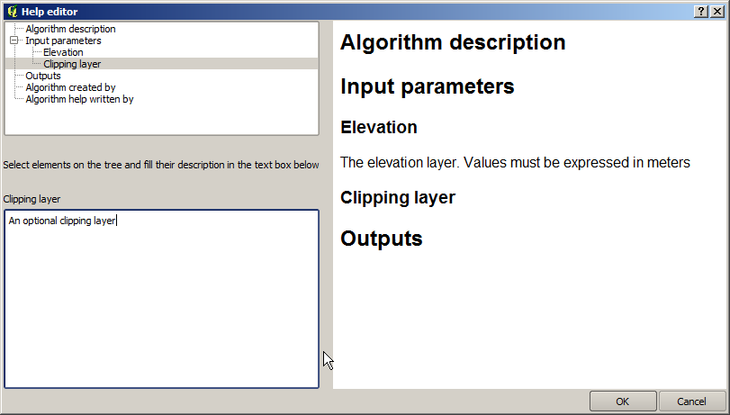 Selecting the Edit option or simply double-clicking on the algorithm icon will show the parameters dialog of the algorithm, so you can change the inputs and parameter values.