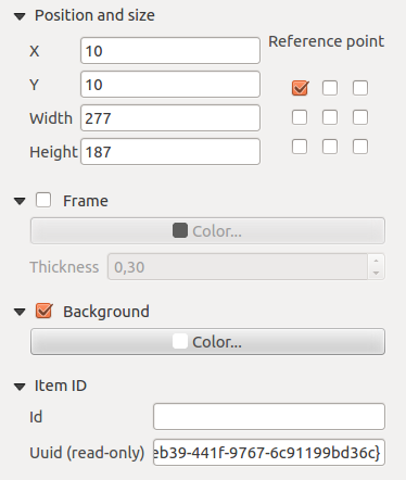 Figura 18.2: Common Item properties Dialogs 18.2 Rendering mode QGIS now allows advanced rendering for composer items just like vector and raster layers. Figura 18.