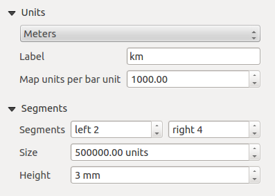 Main properties The Main properties dialog of the scalebar Item Properties tab provides following functionalities (see figure_composer_18): Figura 18.