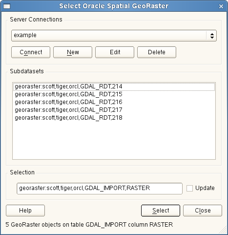 Figura 19.19: Select Oracle GeoRaster dialog Nota: GeoRasters that contains pyramids will display much faster but the pyramids need to be generated outside of QGIS using Oracle PL/SQL or gdaladdo.