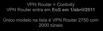VPN Routers VPN Portfolio - EoS VPN Router 2700/2750 VPN Router 1700 5-2,000 IPsec Tunnels 5-500 IPsec Tunnels 50-50,000 concurrent IPsec/SSL Sessions 50-2,000 concurrent IPsec/SSL Sessions VPN