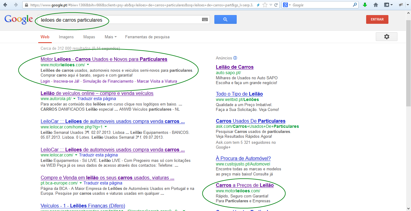 www.motorleiloes.com nos resultados do Google.