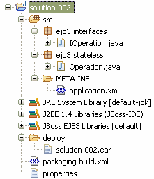 Bean IOperation.java package ejb3.interfaces; import javax.ejb.remote; @Remote public interface IOperation { public int sum(int a, int b); public int subtract(int a, int b); Operation.