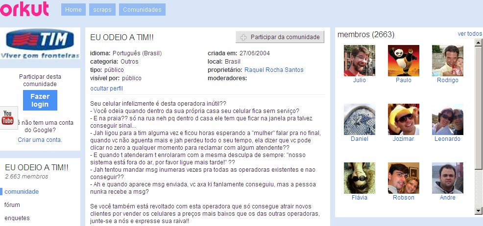 Figura 3: Tela de Debate da Comunidade Eu Odeio a Tim no Orkut Fonte: www.orkut.