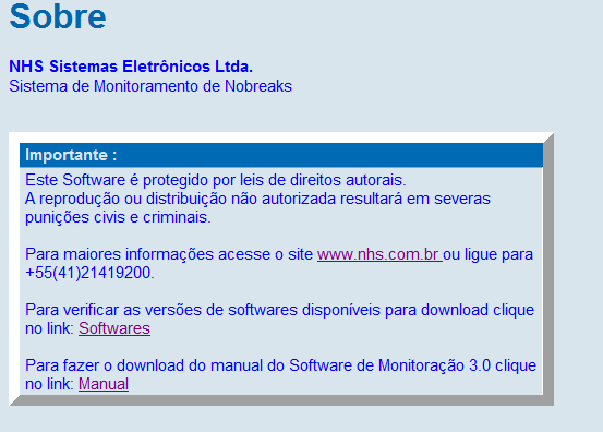 Manual Software de Monitoração NHS