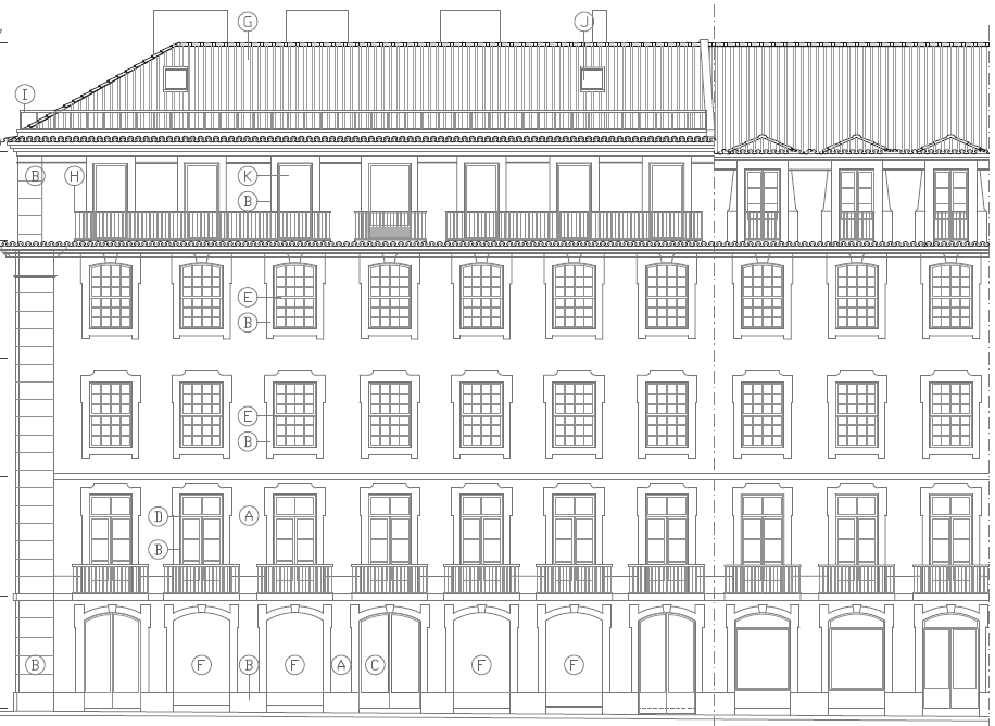 RESIDENTIAL BUILDING ON RUA DE SÃO PAULO Nº49-61, LISBON Client: HABITAT VITAE Main Activities: Rehabilitation of residential building with 12 apartmments plus 2 shopping areas.