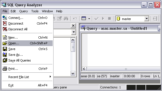 Figure 18 Chose a database server and fill the login information Figure 16 Start the SQL Query Analyzer