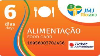4.3. Eating The pilgrims registered/inscribed in the Official Organization WYD will receive a personal card to acquire meals during the days of WYD.