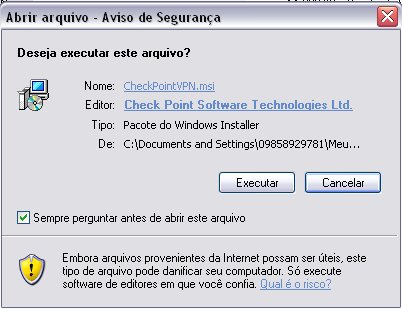 MANUAL DE INSTALAÇÃO DO CLIENTE CHECK POINT ENDPOINT SECUREMOTE Este documento tem por objetivo orientar a instalação do software Endpoint Security VPN/Check Point Mobile em computadores que