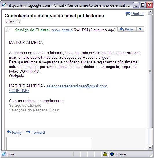 Email Marketing - Protecção de Dados Download semanal do ficheiro de