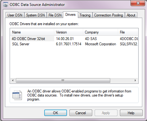 Installation on Windows 4D provides two versions (a 32-bit and a 64-bit) of the ODBC Driver installer for Windows.