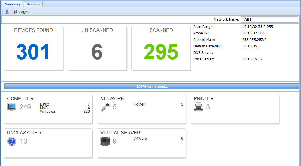 Descoberta Discover the whole network from a single agent 3 steps: 1. Ping / DNS scan 2.