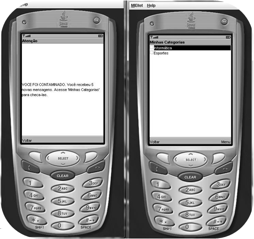 a plataforma J2SE, e a outra um MIDlet (Mobile Information Device Profile Application) [Muchow 2001], implementado sobre a plataforma J2ME.