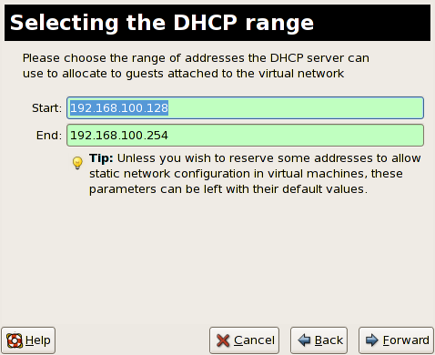 Red Hat Enterprise Linux 5 Virtualization Figura 17.4 4. Choosing an IPv4 address space 4.