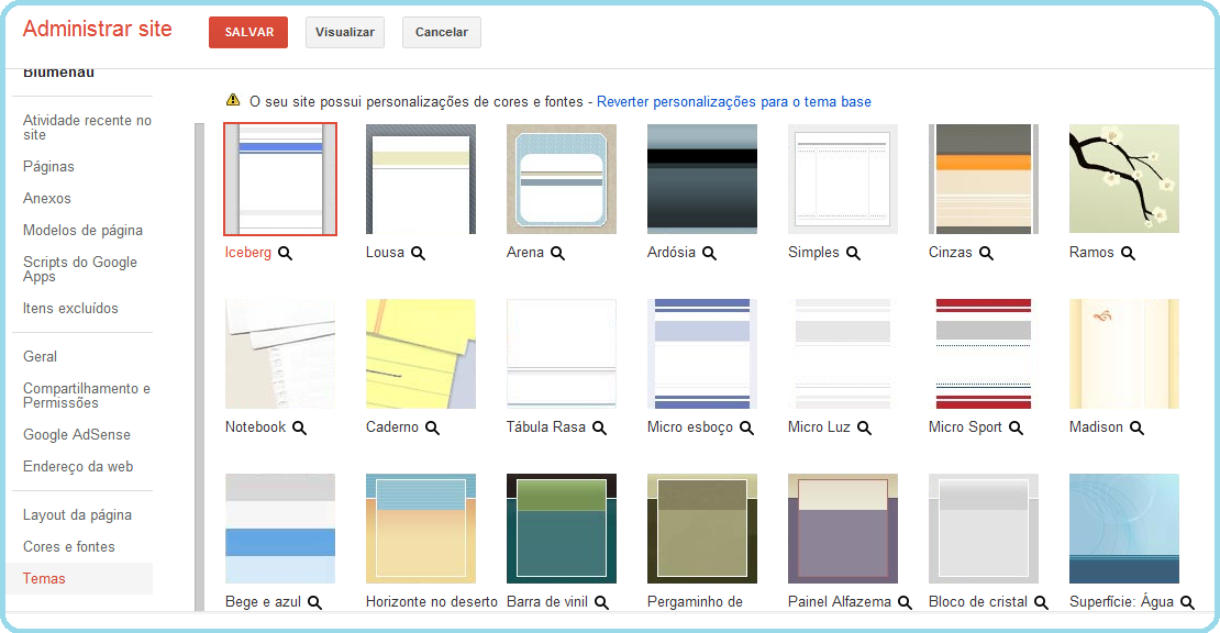 Alterando as cores e fontes do site.