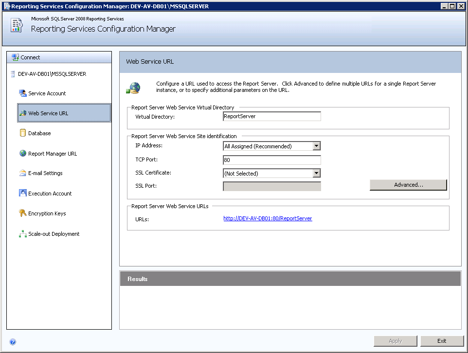Configuração do SQL Server Reporting Services 3.