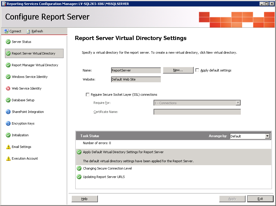 Configuração do SQL Server Reporting Services 4.