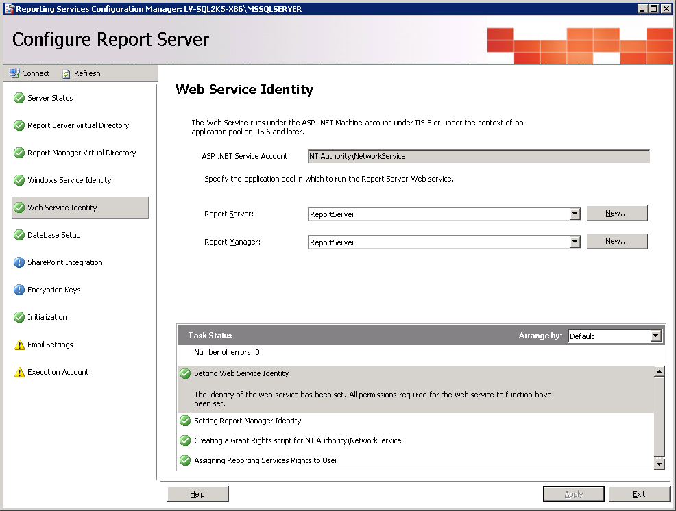 Configuração do SQL Server Reporting Services 6.