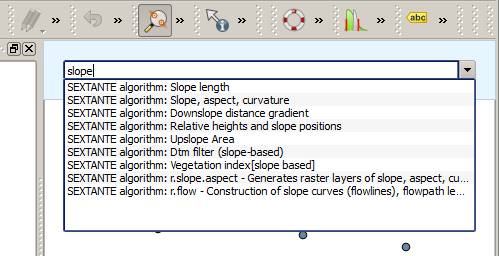 Figure 17.29: The QGIS Commander 17.15.1 Comandos disponíveis The commands available in the Commander fall in the following categories: Processing algorithms.