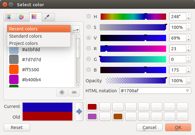 Figure 12.19: Color picker ramp tab possibilities though. By using color swatches you can choose from a preselected list.