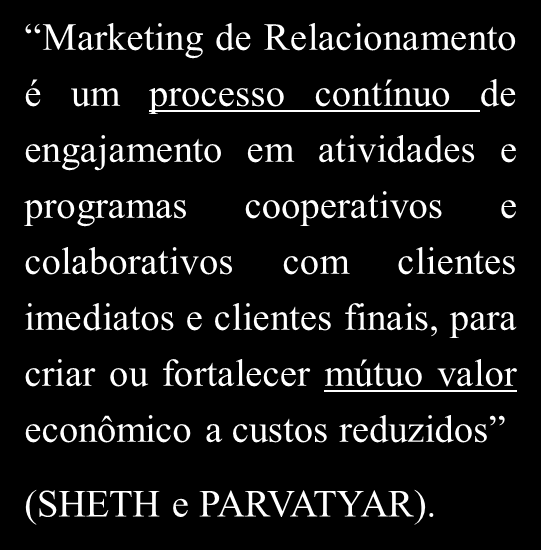 Marketing de relacionamento por Sheth e Parvatyar Marketing de Relacionamento é um processo contínuo de