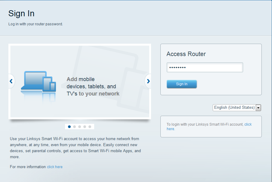 b. A janela Create your Linksys Smart Wi-Fi account será exibida.
