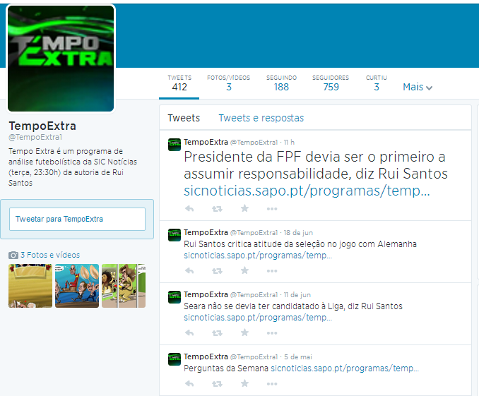 Fig. nº41: Twitter do programa Tempo Extra