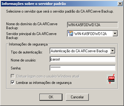 Efetuar logon no CA ARCserve Backup Para efetuar logon no CA ARCserve Backup 1. Abra o console do Gerenciador do CA ARCserve Backup.