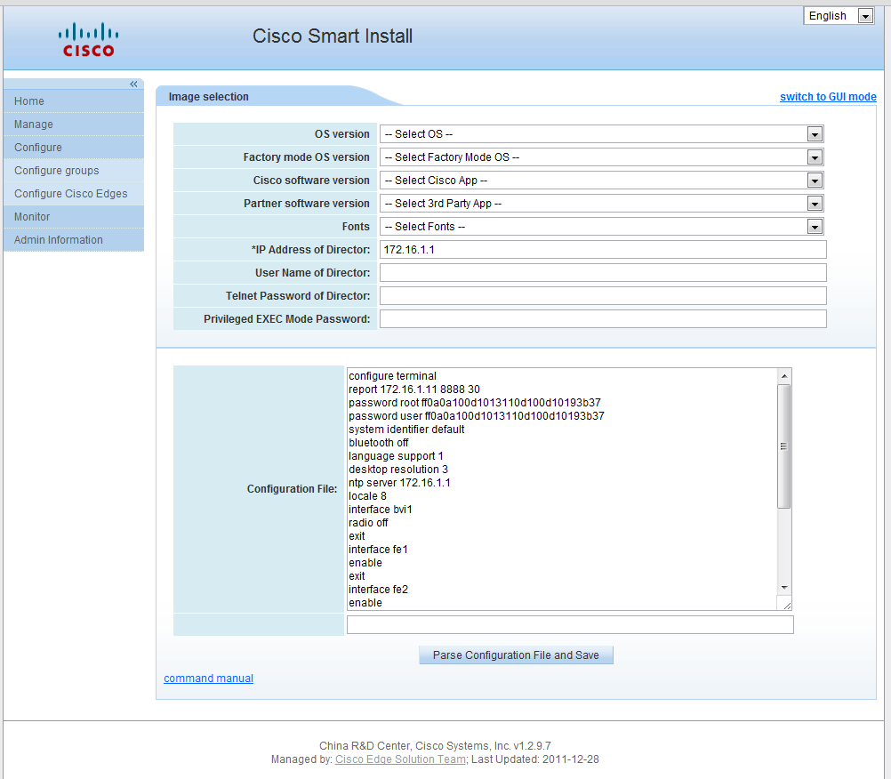 Switch to CLI mode 2011 Cisco and/or