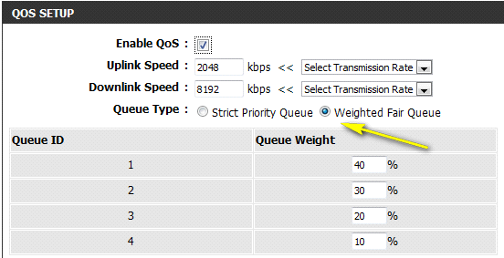 Weighted Fair Queue: o % pode ser modificado. Exemplo: Definir todos os PCs (endereço IP de 19