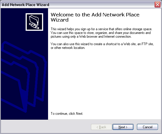 Windows 2000 / XP - Configuração Step-by-Step 1. Abrir My Network Places ; 2. No menu Network Tasks seleccionar a opção Add a network place para iniciar o Add Network Place Wizard ; 3.