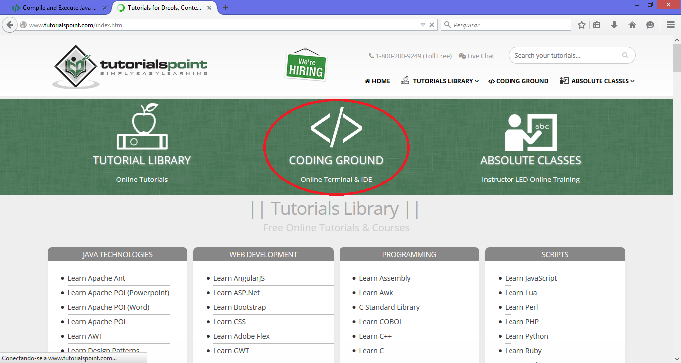 Tutorial, CODING GROUND Online Terminal & IDE e ABSOLUTE CLASSES Instructor LED Online Training. Selecione o segundo item (CODING GROUND) Em seguida selecionar, em Online IDE, o ícone Java.