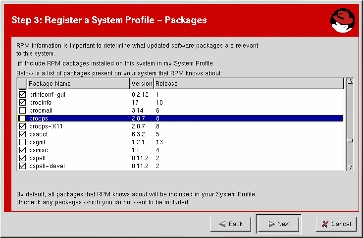 Red Hat Network Registration Client Figura A.8. Perfil do Sistema - Hardware A.4.2.